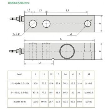 Scherkraftwiegezelle SBL8S 500 kg